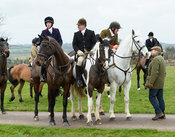 Ida Thore, Peter Cooke, Andrew Collie At the meet. The Cottesmore Hunt at Bleak House 18/12