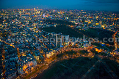 Aerial view of Hyde Park Corner at night, London