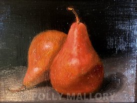 Two_Pears_5_x_7_22_(8_x_10_22_framed)_oil_on_canvas_by_Tracy_Ferrence_(_100)