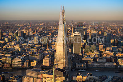 Aerial view of London, City of London skyline from The Shard.