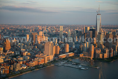 Aerial view of the skyscrapers in Lower Manhattan