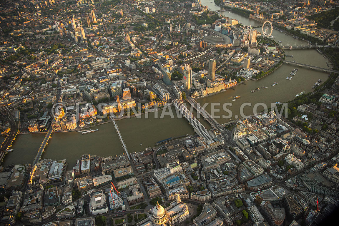 Aerial view of London, St Paul's Cathedral towards Tate Modern with River Thames.
