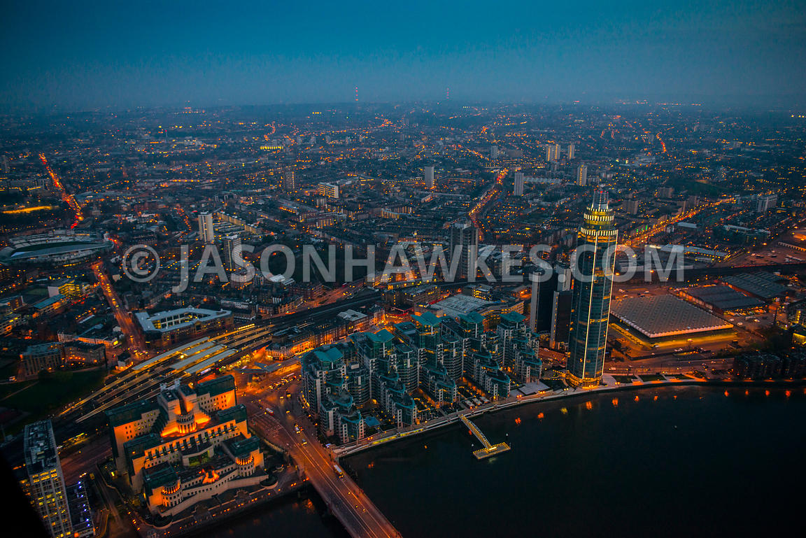 Aerial view of St George's Wharf at night, London