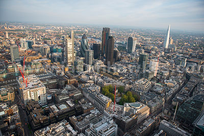 Aerial view of Finsbury Circus and the City, London