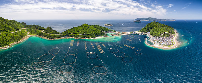 Aerial view of the small island of Kashiwa-jima, with pens in the foreground for aquaculture. The large pens hold tuna.  Koch...