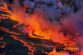 Lava lake Nyiragongo with lava meltings and fountains - Africa, Congo, Democratic Republic, North Kivu, Virunga Mountains, Ny...