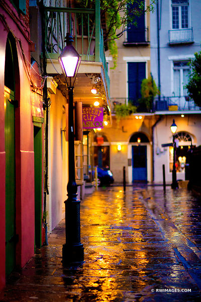 PIRATE'S ALLEY RAINY DAY FRENCH QUARTER NEW ORLEANS COLOR VERTICAL
