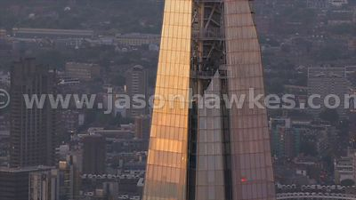Aerial footage circling The Shard