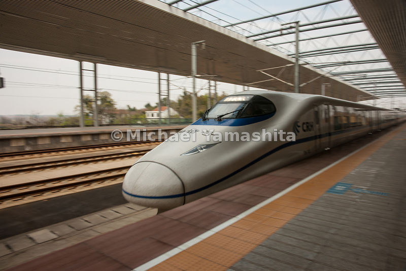 Guangzhou to Wuhan high speed bullet train capable of speeds up to 380km/hr. operating since January, 2010 Does the trip in 3...