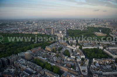 Aerial view of Knightsbridge at dusk, London