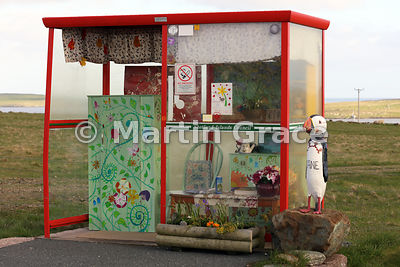 Wonderful eccentrically-decorated (and furnished) bus shelter, Unst, Shetland