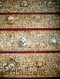 Wall made of 1245 sculls and bones Faro