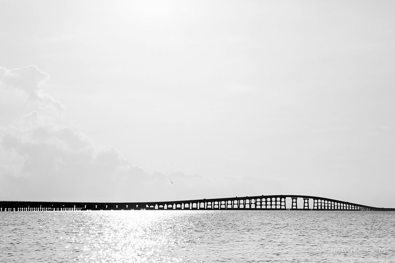 OREGON INLET BRIDGE OUTER BANKS BLACK AND WHITE