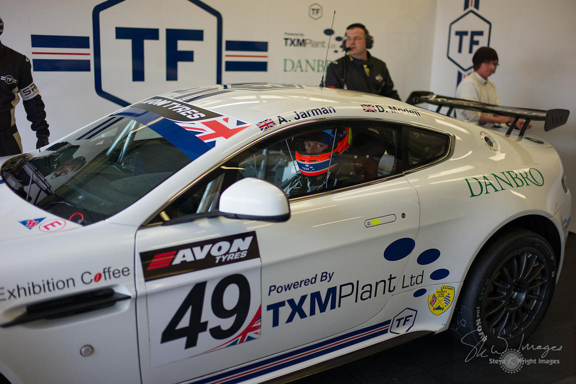 TF Sport's Aston Martin Vantage GT4 in the pit lane, pre-race, at the Silverstone 500 - the third round of the British GT Cha...