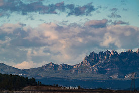 View of mountains in the Penedes wine region in Catalonia, Barcelona, Spain