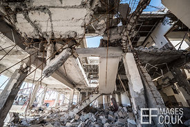 Destroyed Sinjar Town Hall remains an untouched tangle of twisted metal and fractured concrete eighteen months after the city...
