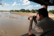 Bird hide on the bank of the Limpopo river, Mapungubwe National Park, South Africa