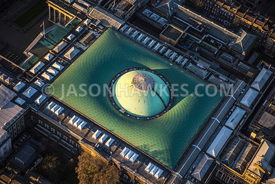 Aerial view of London, close up of Great Court Glass room, British Museum.