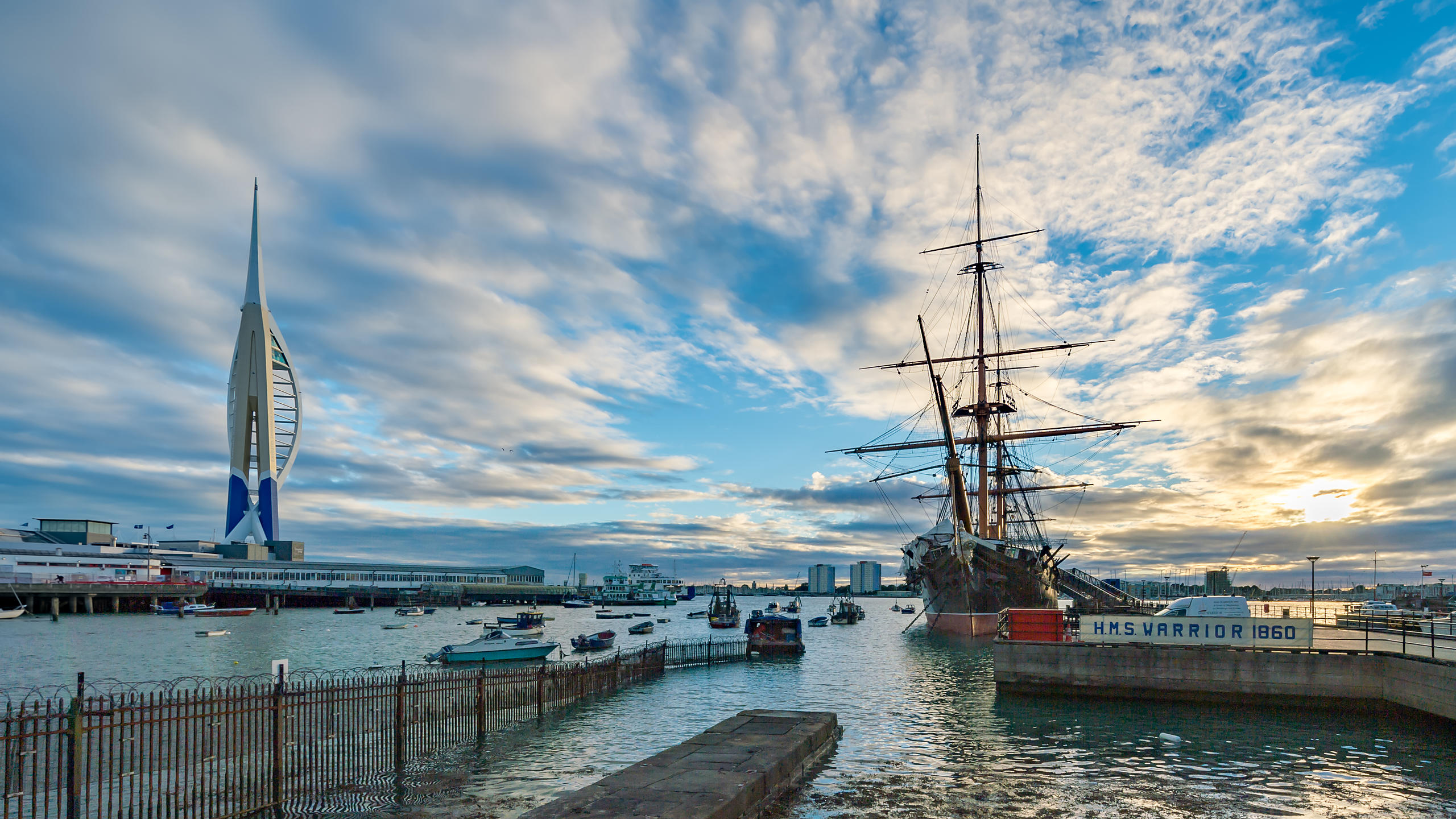 HMS Warrior and Spinnaker Tower at sunset, Portsmouth Historic Dockyard