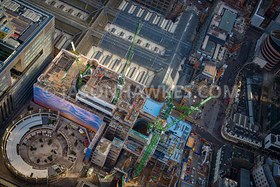 Aerial view of London, Liverpool Street Station and eeldon Street close up.