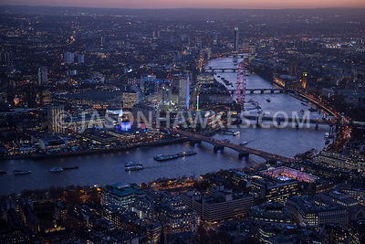 Aerial view of London, Southbank and London Eye at night.