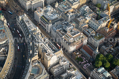 Aerial view of Regent Street and Piccadilly, London