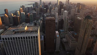 Bird's Eye: Sunset 1,000 Feet Above Michigan Avenue