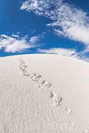 Footprints on Gypsum Dunes in White Sands National Monument