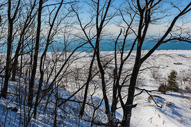 Winter View of Lake Michigan in Rosy Mound Natural Area along Lake Michigan