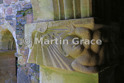 Cloister capital detail by sculptor Christopher Hall, Iona Abbey, Iona, Inner Hebrides, Scotland