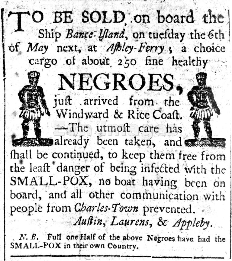 Advertisement for slave sale, ca. 1780s