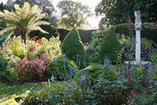 The Sundial Garden with late afternoon sun illuminating tree ferns, conical piceas and exotic herbaceous plants including sal...