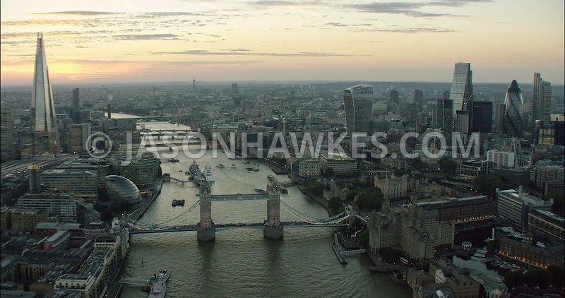 London Aerial Footage Tower Bridge towards The Shard.