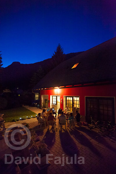 Bovec Rafting Team backyard at dusk