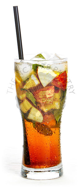 Glass of fruit iced tea on white background