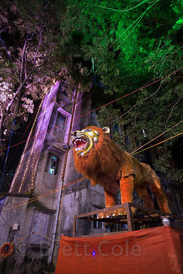 Animatronic lion on display during the Durga Puja festival, Jodhpur Park, Kolkata, India