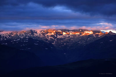 Photos of landscapes of mountain at dawn or at sunrise in france