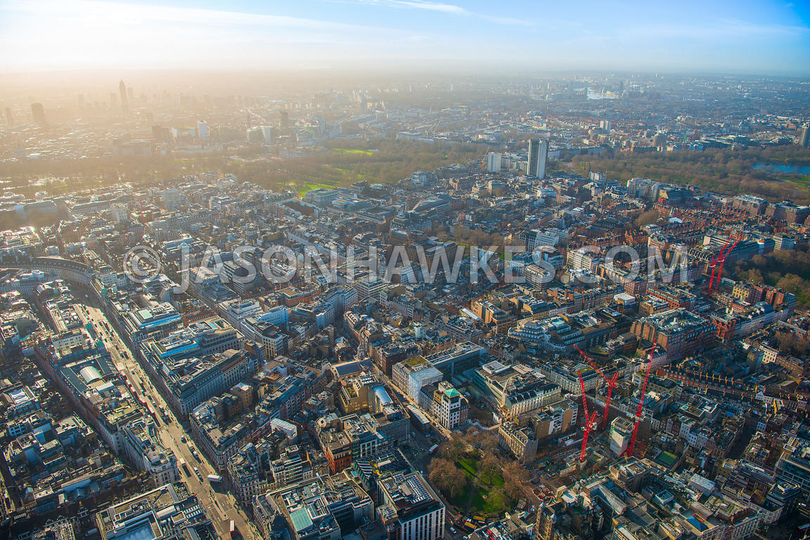 Aerial view of London, Mayfair from Regent Street towards Hyde Park and Green Park