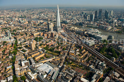 Aerial view of London Bridge Station and The Shard, London