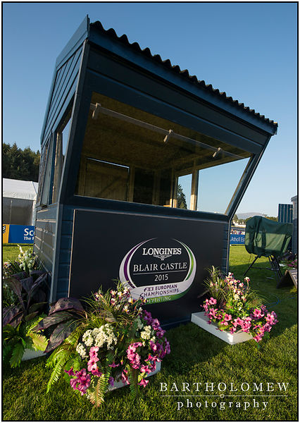 FEI European Eventing Championships 2015 Blair Castle. Judges hut at C ready for the dressage tests in the main arena.