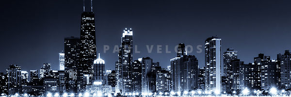 Panoramic Chicago Skyline at Night Blue Tone