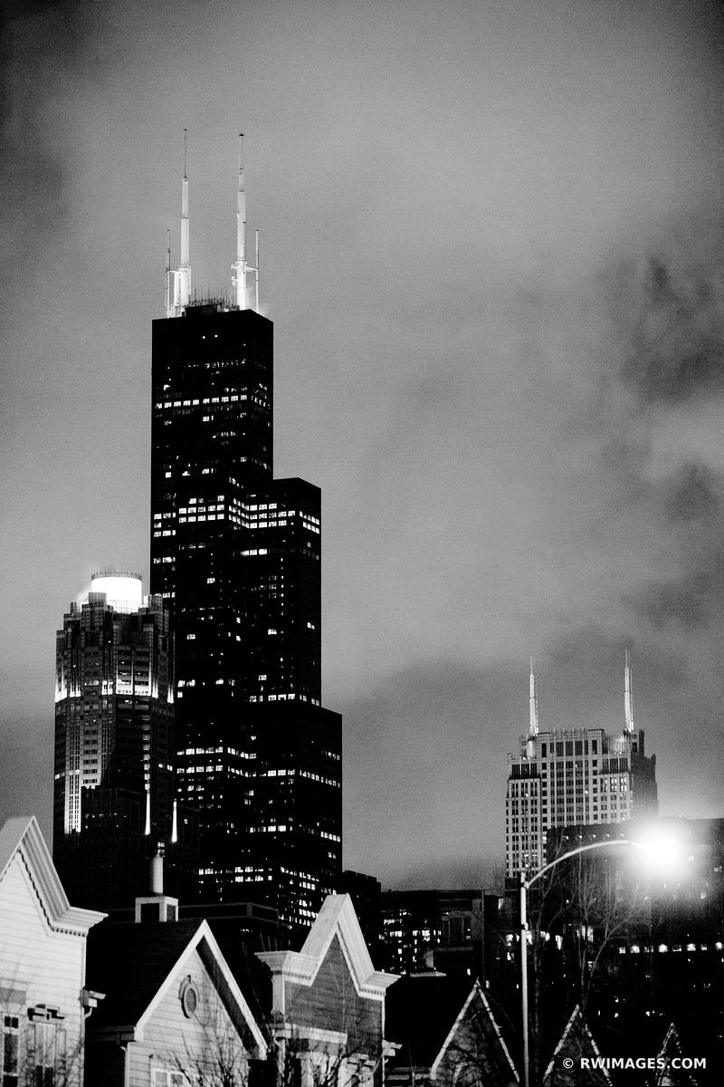 SEARS WILLIS TOWER SOUTH LOOP CHICAGO BLACK AND WHITE VERTICAL