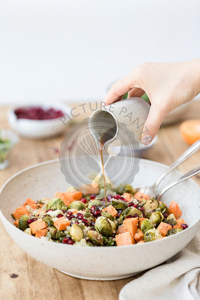 Roasted Sweet Potato Brussels Sprout salad