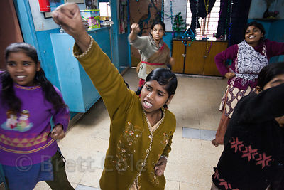 Girls receive karate lessons at the CINI (cinindia.org) girls shelter at Amader Bari, Kolkata, India.