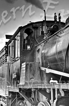 Steam_Train_Footplate_-_B_W