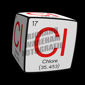 Digital Illustration - Chemical periodic table style tile Cl Chlore (Francais / French) cubed