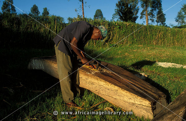 Fisherman making a canoe on the shore of Lake Nyabihoko, near Nytungamo, Uganda
