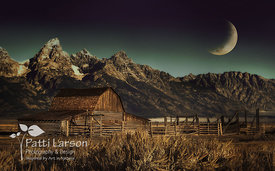 Moon Over Moulton Barn in the Tetons