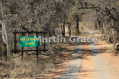 Entrance to Cheetah enclosure (Acinonyx jubatus), De Wildt Cheetah Centre, Republic of South Africa