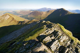 Looking down towards Ladyside Pike from below Hopegill Head on a sunny day in the English Lake District, UK.